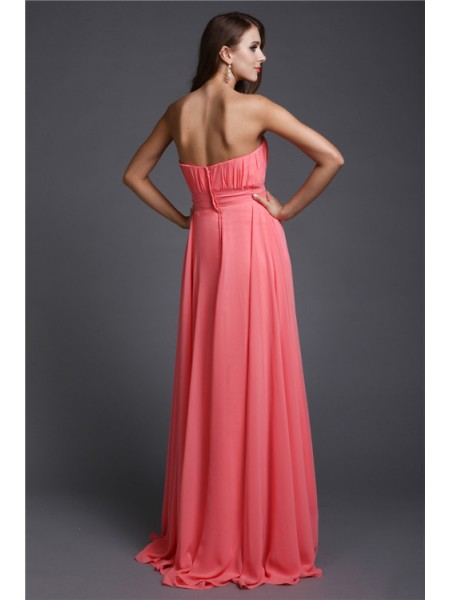 A-Line/Princess Beading Chiffon Sleeveless Floor-Length Strapless Bridesmaid Dresses