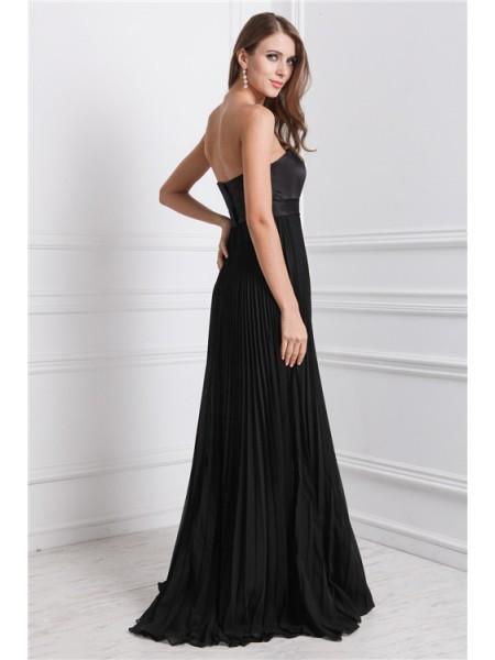 A-Line/Princess Ruffles Chiffon Sleeveless Floor-Length Strapless Bridesmaid Dresses