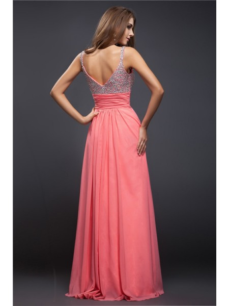 Sheath/Column Beading Chiffon Sleeveless Floor-Length Spaghetti Straps Dresses