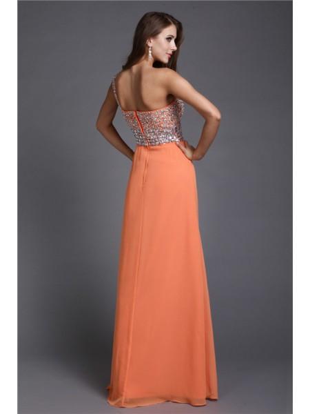 Sheath/Column Beading Chiffon Sleeveless Floor-Length One-Shoulder Dresses