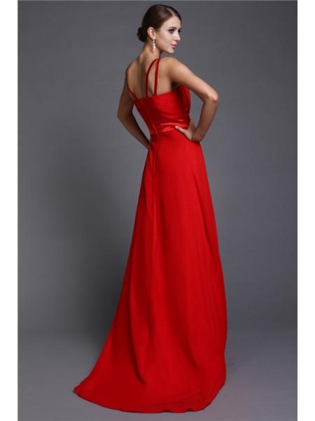 A-Line/Princess Ruffles Chiffon Sleeveless Sweep/Brush Train V-neck Bridesmaid Dresses