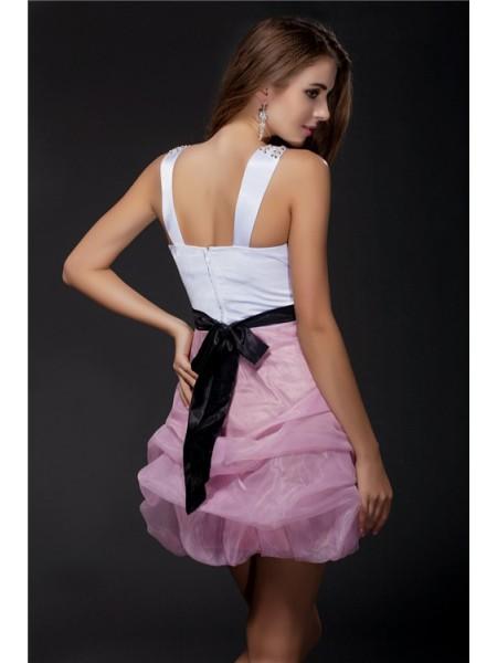 Ball Gown Sash/Ribbon/Belt Beading Elastic Woven Satin Organza Sleeveless Short/Mini V-neck Short Cocktail Dresses