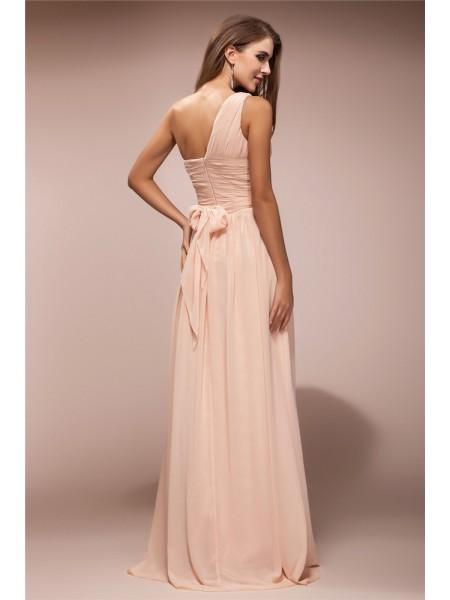 Sheath/Column Ruffles Chiffon Sleeveless Floor-Length One-Shoulder Dresses