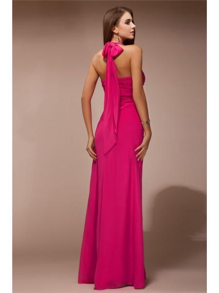 Sheath/Column Ruffles Chiffon Sleeveless Floor-Length Halter Bridesmaid Dresses