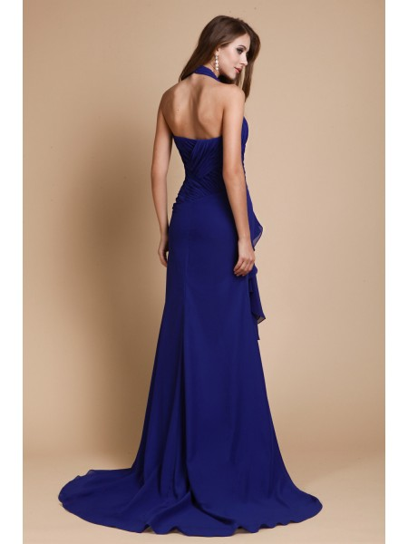 Trumpet/Mermaid Beading Chiffon Sleeveless Sweep/Brush Train V-neck Dresses