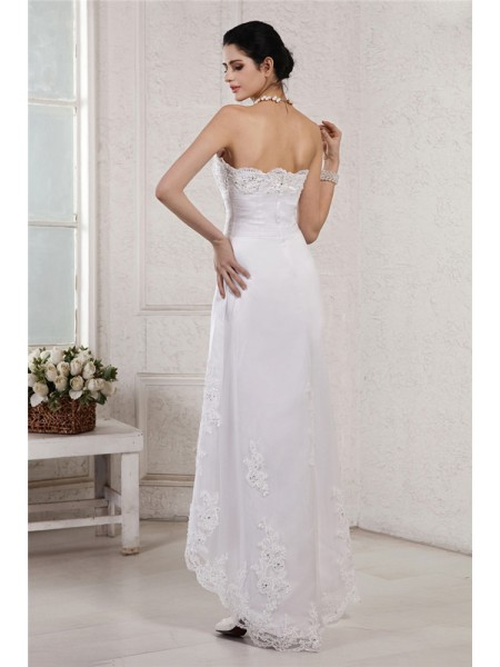 Sheath/Column Beading Applique Organza Sleeveless Asymmetrical Sweetheart Wedding Dresses