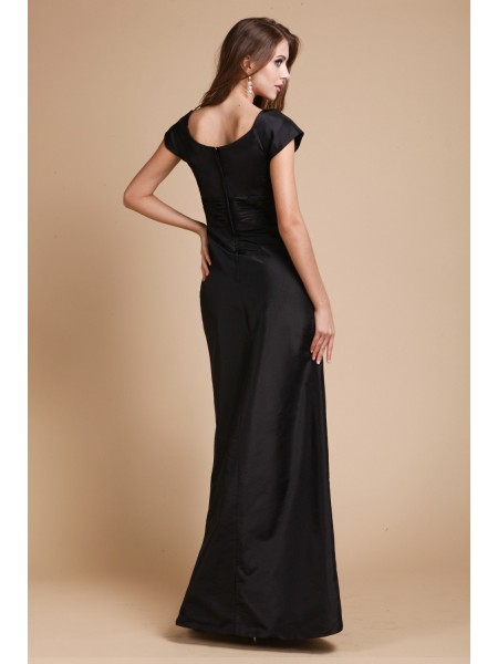 Sheath/Column Ruffles Taffeta Short Sleeves Floor-Length V-neck Dresses