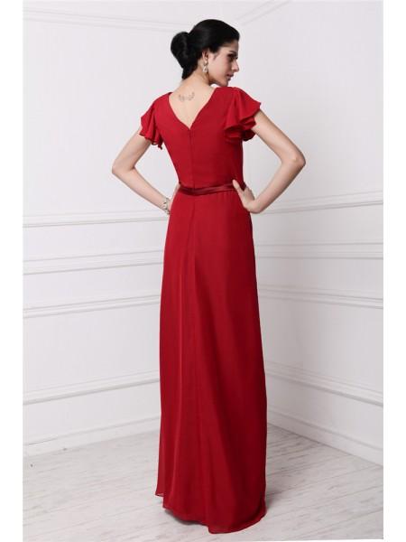Sheath/Column Pleats Chiffon Short Sleeves Floor-Length V-neck Bridesmaid Dresses