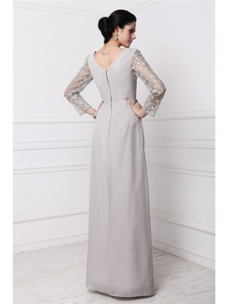 Sheath/Column Lace Chiffon Long Sleeves Floor-Length V-neck Dresses