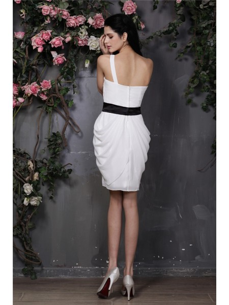 Sheath/Column Pleats Chiffon Sleeveless Short/Mini One-Shoulder Short Cocktail Dresses