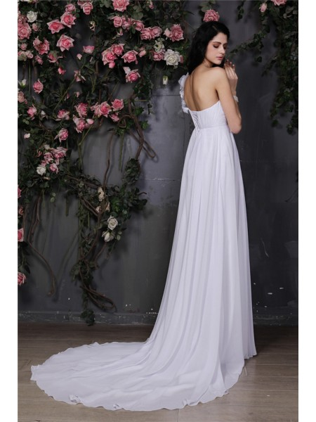 A-Line/Princess Ruffles Hand-Made Flower Chiffon Sleeveless Chapel Train One-Shoulder Wedding Dresses