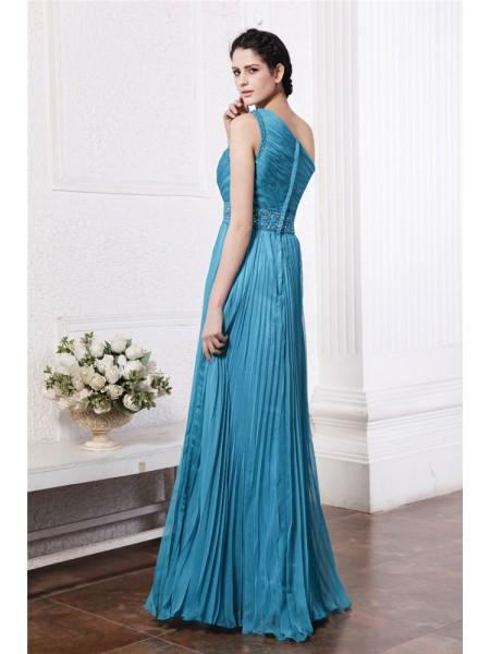 Sheath/Column Pleats Beading Chiffon Sleeveless Floor-Length One-Shoulder Bridesmaid Dresses