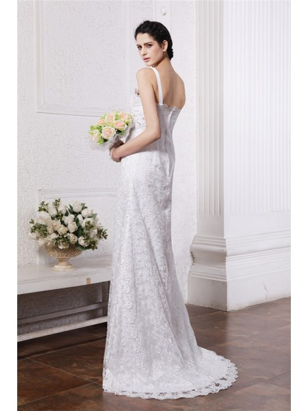 Sheath/Column Ruffles Ruched Chiffon Net Sleeveless Sweep/Brush Train Square Wedding Dresses