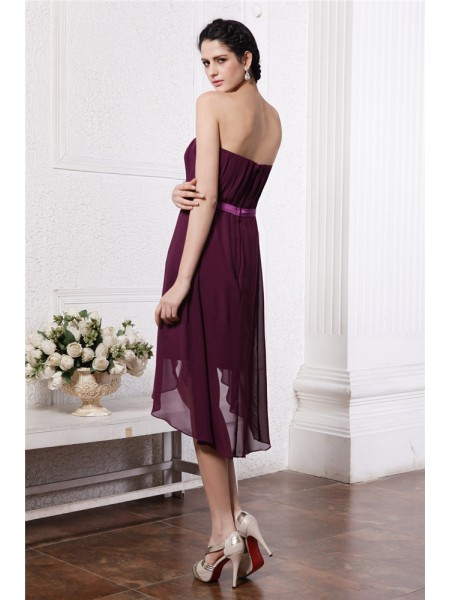 Sheath/Column Pleats Sash/Ribbon/Belt Chiffon Sleeveless Asymmetrical Strapless Short Cocktail Dresses