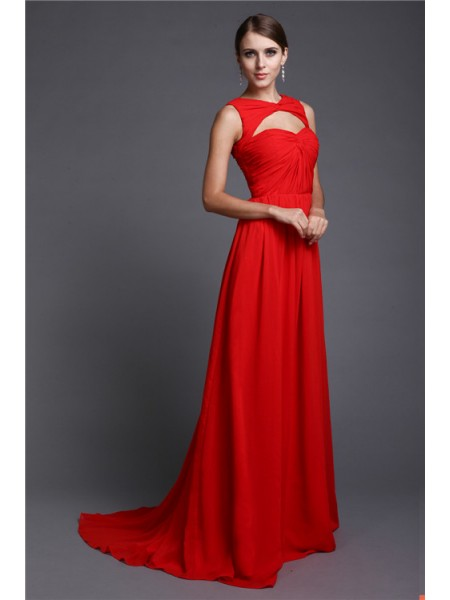 A-Line/Princess Ruffles Chiffon Sleeveless Sweep/Brush Train High Neck Dresses
