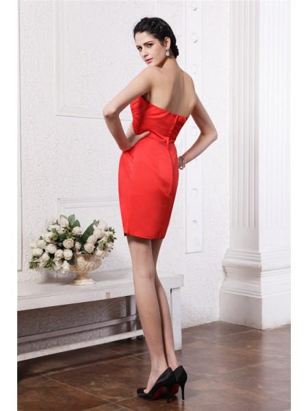 Sheath/Column Pleats Elastic Woven Satin Sleeveless Short/Mini Strapless Bridesmaid Dresses