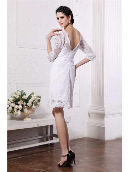 Sheath/Column Lace Lace 1/2 Sleeves Short/Mini Bateau Wedding Dresses