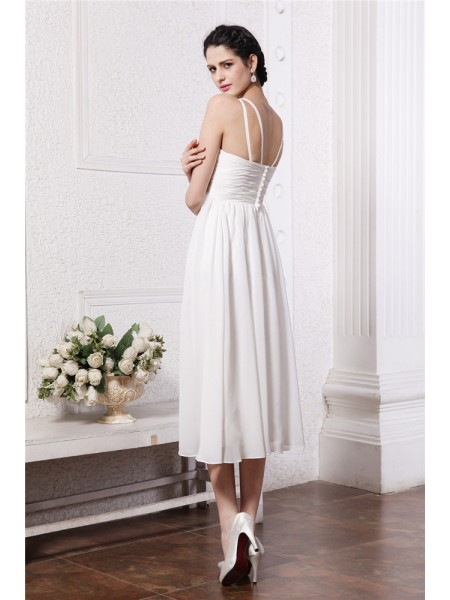 Sheath/Column Beading Applique Chiffon Sleeveless Tea-Length V-neck Bridesmaid Dresses