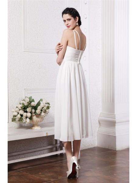 Sheath/Column Beading Applique Chiffon Sleeveless Tea-Length V-neck Bridesmaid Dresses