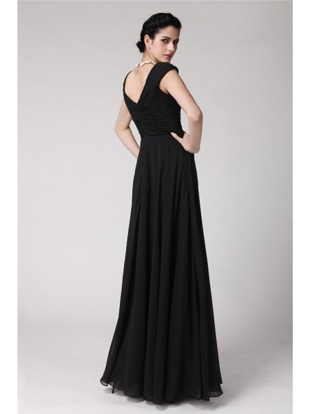 Sheath/Column Pleats Chiffon Sleeveless Floor-Length V-neck Dresses