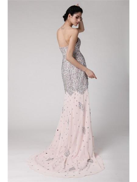 Trumpet/Mermaid Beading Rhinestone Chiffon Sleeveless Sweep/Brush Train Sweetheart Dresses