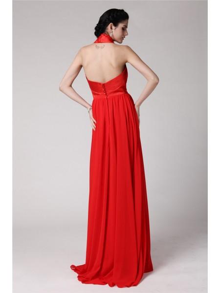 Sheath/Column Pleats Chiffon Elastic Woven Satin Sleeveless Floor-Length Halter Bridesmaid Dresses