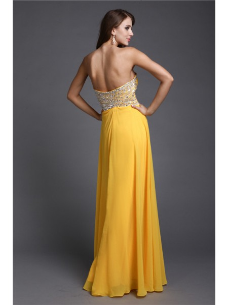 A-Line/Princess Beading Chiffon Sleeveless Floor-Length Sweetheart Dresses