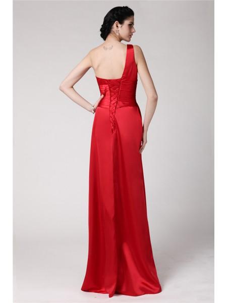 Sheath/Column Pleats Hand-Made Flower Elastic Woven Satin Sleeveless Floor-Length One-Shoulder Bridesmaid Dresses