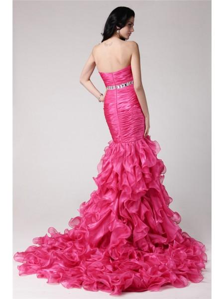 Trumpet/Mermaid Rhinestone Organza Sleeveless Sweep/Brush Train Sweetheart Dresses