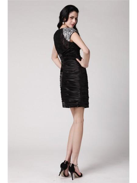 Sheath/Column Beading Lace Elastic Woven Satin Short Sleeves Short/Mini Scoop Short Cocktail Dresses