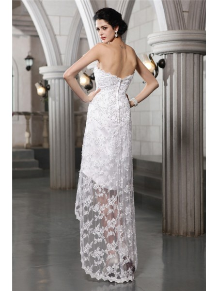 Sheath/Column Beading Lace Sleeveless Asymmetrical Strapless Wedding Dresses