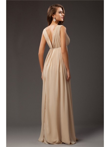 A-Line/Princess Beading Chiffon Sleeveless Floor-Length V-neck Dresses