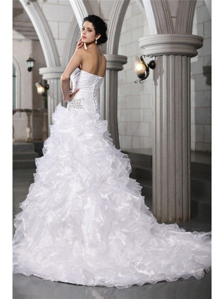 A-Line/Princess Pleats Beading Organza Sleeveless Chapel Train Sweetheart Wedding Dresses