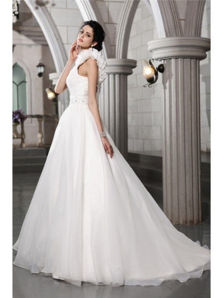 A-Line/Princess Beading Organza Sleeveless Chapel Train One-Shoulder Wedding Dresses