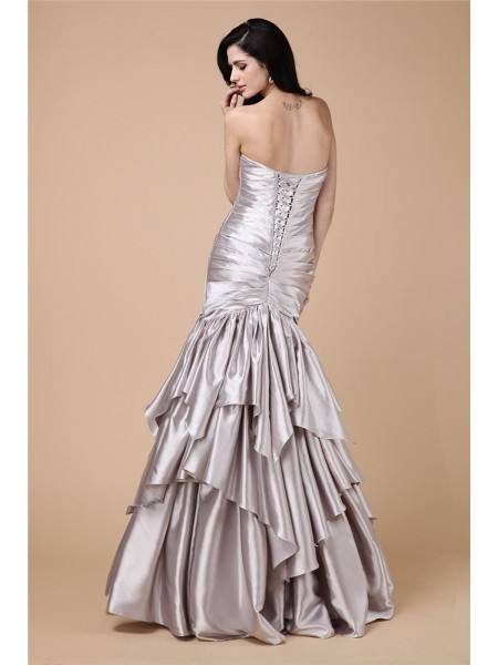 Trumpet/Mermaid Pleats Elastic Woven Satin Sleeveless Floor-Length Strapless Dresses