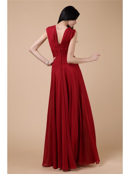 Sheath/Column Pleats Beading Chiffon Sleeveless Floor-Length Straps Dresses