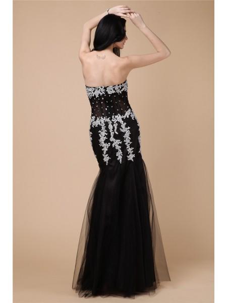Trumpet/Mermaid Beading Applique Net Satin Sleeveless Floor-Length Sweetheart Dresses