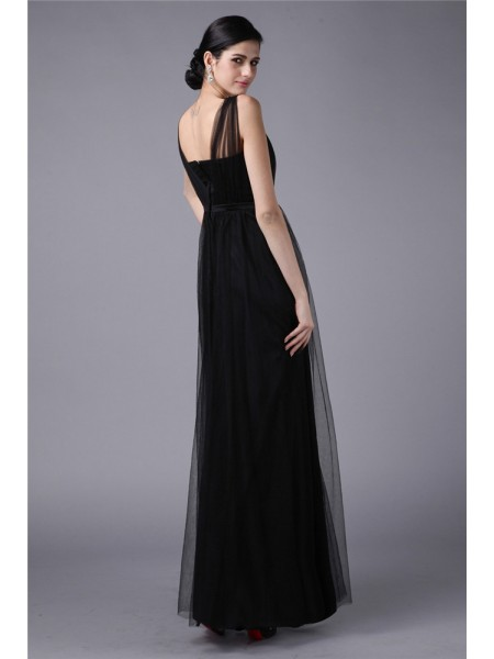 Sheath/Column Sash/Ribbon/Belt Net Sleeveless Floor-Length Straps Dresses