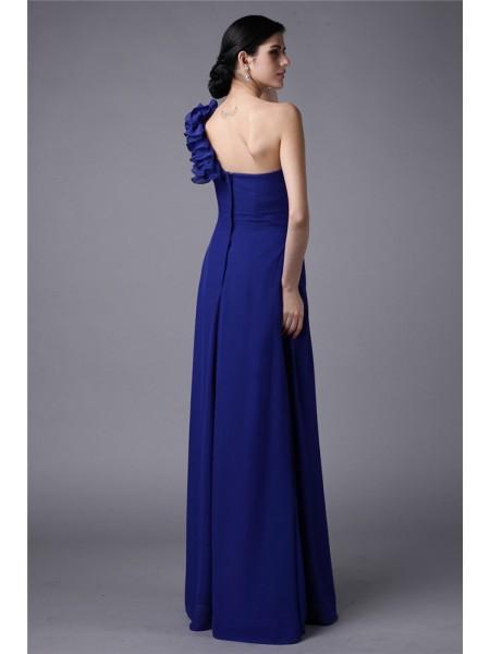 Sheath/Column Pleats Chiffon Sleeveless Floor-Length One-Shoulder Bridesmaid Dresses