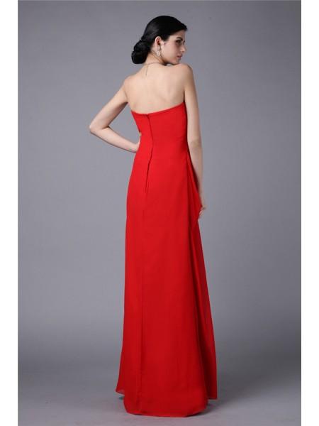 Sheath/Column Pleats Chiffon Sleeveless Floor-Length Strapless Dresses