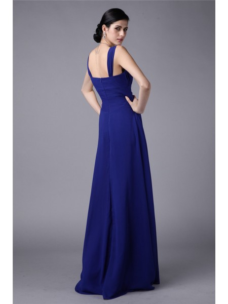 Sheath/Column Pleats Chiffon Sleeveless Floor-Length Straps Bridesmaid Dresses