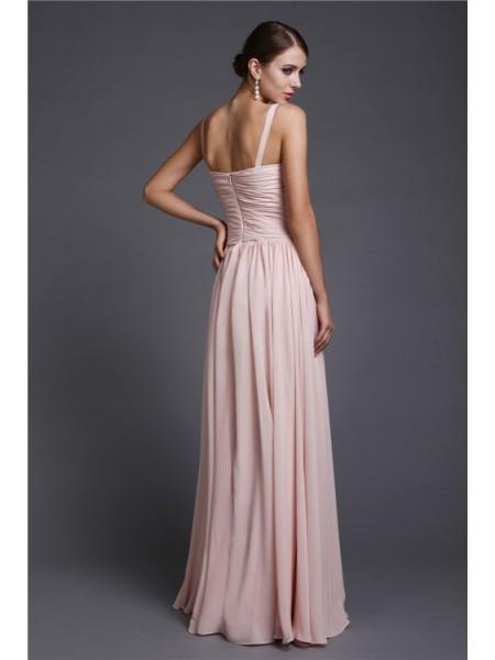 A-Line/Princess Ruffles Chiffon Sleeveless Floor-Length V-neck Bridesmaid Dresses