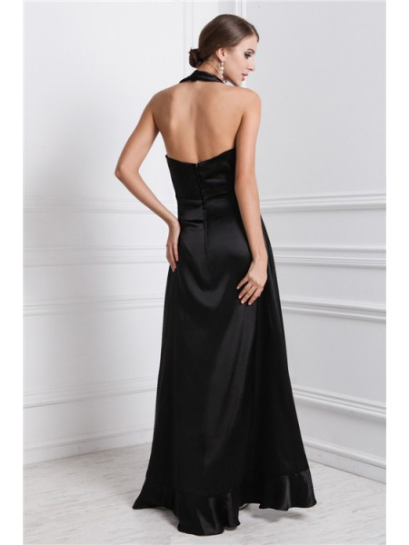 A-Line/Princess Ruffles Silk like Satin Sleeveless Asymmetrical Bateau Dresses