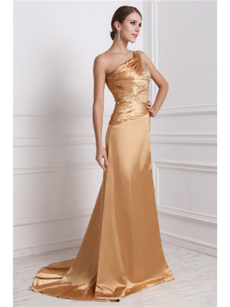 A-Line/Princess Beading Elastic Woven Satin Sleeveless Sweep/Brush Train One-Shoulder Dresses