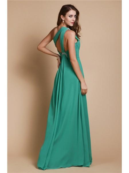 A-Line/Princess Beading Chiffon Sleeveless Floor-Length One-Shoulder Dresses