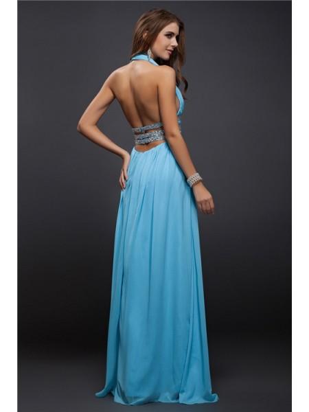 Sheath/Column Beading Chiffon Sleeveless Floor-Length V-neck Dresses