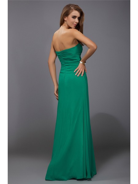 Sheath/Column Ruffles Chiffon Sleeveless Floor-Length Strapless Bridesmaid Dresses