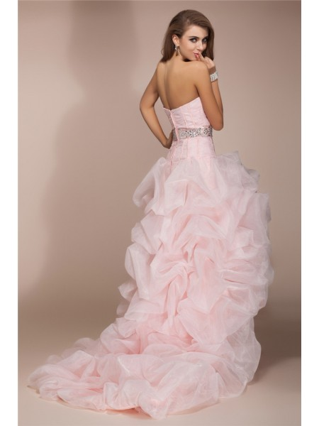 A-Line/Princess Beading Organza Sleeveless Asymmetrical Sweetheart Dresses