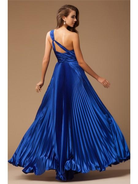 Sheath/Column Beading Elastic Woven Satin Sleeveless Floor-Length One-Shoulder Dresses