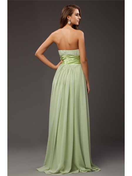 Sheath/Column Ruffles Hand-Made Flower Chiffon Elastic Woven Satin Sleeveless Floor-Length Strapless Bridesmaid Dresses